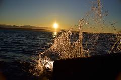 Solar Splash (RichSeattle) Tags: richseattle nikon d750 sun sky clouds sunset ocean sound pugetsound water splash shine wave waves