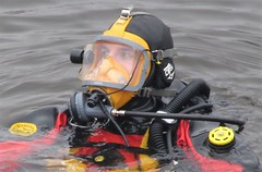 Close-up of a surfaced diver (chemsuiter) Tags: publicsafetydiver divetraining intheriver onthesurface divator drysuit