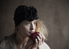 Portrait with red Rose (valerio magini ph) Tags: valeriomaginiphotographer portrait rose redrose redhair woman hat hands light eyes beauty beautiful