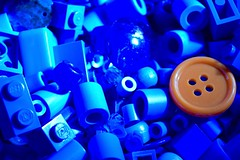 Dare to be different (terri_mcclanahan) Tags: blue orange plastic lego buttons macromondays blueandorange
