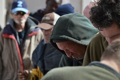 This man was among the crowd lined up for a free lunch being served by two church groups in Denver. (desrowVISUALS.com) Tags: economics economy poverty poorpeople austerity economiccrisis poor