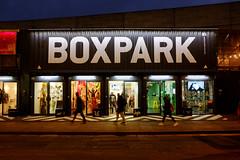 Boxpark (BrianEden) Tags: night boxpark england london travel uk shoreditch fuji shippingcontainer brianedenphotography shopping streetphotography fujifilm dusk unitedkingdom gb