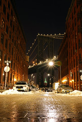 One Way (the_orl) Tags: new york manhatten bridge reflection reflexion movie shot once upon time america night longexposur exposure sky brick floor street cars light