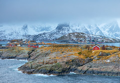 Travel Concepts and Ideas. Traditional Norwegian Fishing Hut Called Hamnoy in Norway. (DmitryMorgan) Tags: norway norwegian panorama scandinavia arctic bay coast environment europe fjord hamnoy harbor house hut isle light lofoten lofotenislands mountains nature nopeople noone ocean outdoor picturesque polarcircle red reddish reine reinefjord scenery scenic seascape snowy traditional traveldestination travelling village water