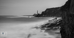 Keek - a - Boo (ianbrodie1) Tags: stmarys lighthouse longexposure blackwhite mono leefilters superstopper cliffs rocks coast coastline sea ocean hightide