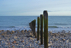 pole lines (Lord Edam) Tags: sea sand rocks pebbles beach coastline piles groynes