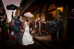 procession of love (JimfromCanada) Tags: wedding procession couple love marry marriage umbrella man husband wife woman young family friends neworleans frenchquarter old vintage classic happy parasol