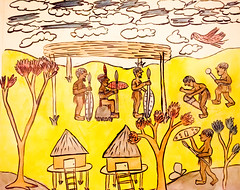 Yellow Skies (Thomas Hawk) Tags: sanfrancisco california usa museum painting unitedstates unitedstatesofamerica sfmoma soma sanfranciscomuseumofmodernart paitingsbyyoungafricansofsouthrhodesia