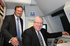 "Stephen Mosley MP and Transport Secretary Patrick McLoughlin in cab of train driver training simulator at Chester Station • <a style=""font-size:0.8em;"" href=""http://www.flickr.com/photos/51035458@N07/14081329861/"" target=""_blank"">View on Flickr</a>"
