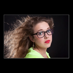 Glasses (KoenK68) Tags: portrait woman brown girl beautiful hair studio glasses pretty wind flash blowing curly redlips koenk68