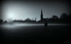 From which all that was, now has fled (Gareth Priest) Tags: street city uk blue trees houses light shadow portrait people urban bw moon mist inspiration man cold art church field silhouette collage misty fog wales night composition dark walking landscape person town nikon experimental mood alone emotion candid creative cardiff highcontrast surreal streetportrait atmosphere eerie creepy spooky human sombre shade soul ethereal figure mysterious moonlight haunting lonely feeling concept moment capture spiritual shape ghostly tones roath roathrec d5100