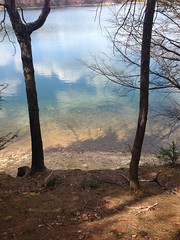 Walden Pond (Molly Des Jardin) Tags: blue trees usa beach water pine clouds reflections pond massachusetts clear walden concord thoreau 2013