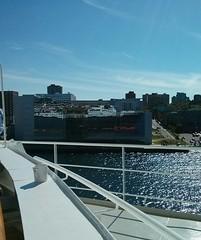 Pulling away... (pburka) Tags: ocean reflection boat ship queenmary halifax qm2 cunard liner