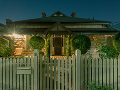 A Neat Front Garden (Andrew_Dempster) Tags: longexposure nightphotography light chimney house home night chair suburban suburbia australia fullmoon adelaide letterbox sa frontyard southaustralia frontdoor northadelaide frontgarden picketfence topairy
