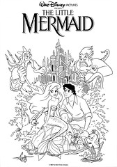 1989 Coloring Sheet (QuiteaCharacter) Tags: sea art ariel vintage movie poster book eric king sebastian princess little witch prince disney line page coloring activity mermaid ursula triton flounder scuttle
