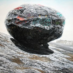 Graffitied Rock, Acrylic on Canvas, 100 x 100cm, 2014 larger (kay are eye ess) Tags: art painting graffiti rocks acrylic boulders rockpiles representational