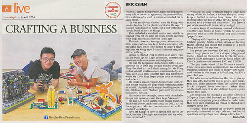 original handicraft newspaper singapore lego creative business local entrepreneur straitstimes craftspeople bricksben