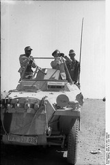 ". Northern Africa, at Bir Hakeim - Colonel-General Erwin Rommel and General Fritz Bayerlein in the command vehicle, light armored personnel carrier (Sd.Kfz 250/3 ""Greif"".)"