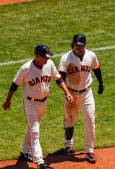 Gregor Blanco and Tim Flannery in a post play consult (phoca2004) Tags: sanfrancisco california unitedstates sfgiants mlb nymets attpark gregorblanco timflannery