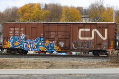 Link (BombTrains) Tags: road railroad art cn train bench graffiti paint tag graf rail spray link graff pike bale freight fr8 verb sfb benching crene 414224