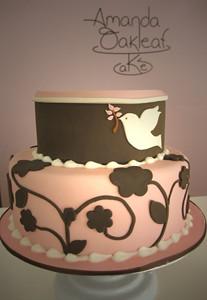 Pink Dove Baptism Cake