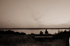 (Osyam-osyam) Tags: boy summer two sky bw plants white black guy love film nature water girl grass sepia night river dark bench mono evening back couple sitting horizon grain clean shore bushes distant