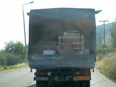 Health and Safety? What Health and Safety??? (pefkosmad) Tags: road vacation holiday danger back open rear transport hellas safety greece lorry health vehicle driver load greekislands griechenland peril loaded dodecanese pefkosjune2014