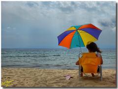 "A ""tool"" for all kind of weather ... HDR (Emil9497 Photography & Art) Tags: beach girl umbrella hellas greece hdr touzla ofrinio emil9497 emilathanasiou emil9497photographyart olympussz31mr"