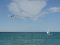 Plane vs yacht (Home Land & Sea) Tags: sea newzealand sailboat plane yacht nz napier pointshoot sonycybershot hawkesbay marineparade explored dsch3 homelandsea