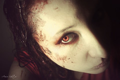 Reanimated (Arisu Saktos) Tags: eye photomanipulation photoshop dark hair creativity blood vampire creepy montage mysterious creature