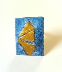 Handmade adjustable alpaca and brass ring in oxidized blue patina (dimitrART2) Tags: blue handmade ring brass adjustable
