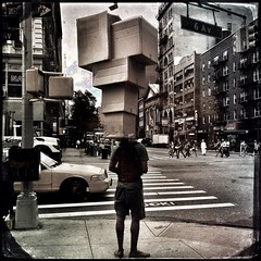 Think out of the box (Giovanni Savino Photography) Tags: street newyorkcity newyork box streetphotography cardboardboxes iphone headwear newyorkstreets newyorkstreetphotography magneticart stackofboxes iphoneography hipstamatic ©giovannisavino