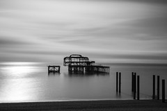 Ghosts of you (Adeypoos) Tags: brightonwestpier pillars ruins wreck bw blackandwhite beautiful seascape seafront sea seaside ghosts motionblur waterfront water reflection adrianpollardphotography canoneos6d canon50mmf14 lee 15stopnd superstopper