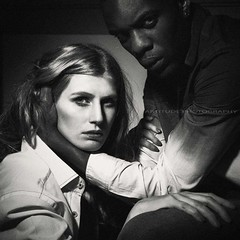 Busted. (moniquerm) Tags: duo model modelling male man woman girl blackandwhite black white photography photoshoot studio studiolight faces face expression story storytelling acting fashion fashionshoot eyes lip hands blonde brown blueeyes cheekbones
