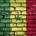 National Flag of Senegal on a Brick Wall