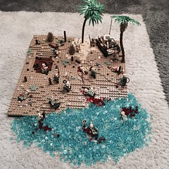 Retaking the Philippines (brick_builder7) Tags: tank type95hago hago go ha type95 95 type usa states united mc us usmc american america japanese japan palm water tan tree dio diorama landing beach theater pacific ww2 ii 2 two war world wwii lego