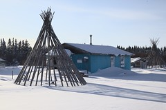 Tipi, snow, and blue house (rex.d) Tags: fortgeorge jamesbay cree eeyouistchee snow winter light spirit abandoned tipi