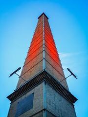 Reaching The Sky (Tassos Giannouris) Tags: sky blue high tall athens greece lights red symmetric