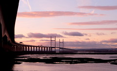 Twilight moments (John (thank you >1 million views)) Tags: landscapephotography 7dwf severnbeach severnestuary riversevern gloucestershire england twilight sunset bridge