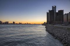 Detroit River Front (DJ Wolfman) Tags: detroit detroitmichigan detroitmi detroitarchitecture detroitriver ambassadorbridge michigan michiganfavorites sunset blue yellow orange sony rx10 renaissancecenter generalmotors