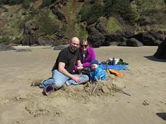 we three on the beach (carolyn_in_oregon) Tags: crescentbeach cannonbeach pacificocean ecolastatepark coast jacob al allie me