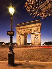 Arc de Triomphe at Blue Hour (Barry O Carroll Photography) Tags: arcdetriomphe placecharlesdegaulle placedeletoile streetsign streetlamp lamppost monument paris france bluehour night city cityscape urbanlandscape travel longexposure slowshutterspeed architecture wideangle