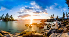 Lake Tahoe Spring Sunset (JarrodLopiccolo) Tags: sand harbor sandharbor lake tahoe laketahoe nevada water pinetrees outdoor landscape panorama panoramic 1535mm canon blue photoshop photomerge