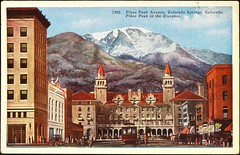 """Pikes Peak Avenue, Colorado Springs, Colorado."" The Antlers Hotel & Pikes Peak in the distance. Postcard 7302, HHT Co., (1910s) (lhboudreau) Tags: postcard postcards colorphoto outdoor outdoors vintagepostcard no7302 7302 postcard7302 postcardno7302 1910s building buildings architecture city hotel mountain mountains pikespeak snow snowcapped pikespeakavenue resort antlers theantlers antlershotel theantlershotel colorado coloradosprings hhtco carriage carriages mountainside streetcar streetcars"