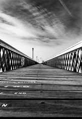 The End (David In The Forest) Tags: yarmouth iow isleofwight blackwhite contrast sky wooden pier spring leading lines