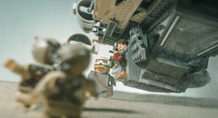 raiders of the sand  (featuring stardust and cassian) (jooka5000) Tags: starwars lego photo rogueone cassianandor jynerso toyphotography sandpeople legography action camera blast uwing rebel sand starfighter raidersofthe photography incamera