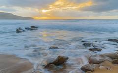 Sunrise Seascape (Merrillie) Tags: killcarebeach australia beach centralcoast centralcoastnsw clouds coast coastal dawn daybreak landscape longexposure nature newsouthwales nsw nswcentralcoast outdoors photography rocks sand sea seascape shoreline sky sunrise surf water waterscape waves