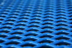 pattern in blue (Jen_Vee) Tags: park picnic bench metal seat pattern grate waffle rippled