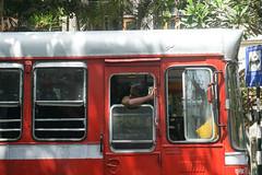 Bus riding I - Mumbai (DecaFlea) Tags: india bombay mumbai colorful color colors exploring explore asia travel travelling bus ride red old