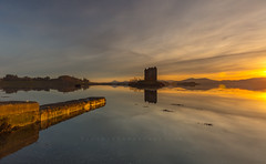 Caisteal an Stalcaire (Visible Landscape) Tags: uk highlands scotland caistealanstalcaire sunset castlestalker golden reflection visiblelandscape